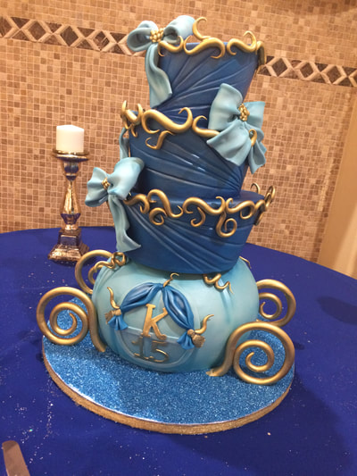Quinceanera cake 4 tiers made to look like a carriage light blue and dark blue and blue crystals on bottom for some bling.