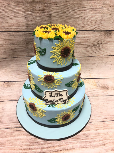 sunflower 3 tier baby shower cake