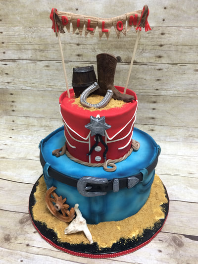 boys baby shower cake. cowboy theme, 2 tier.