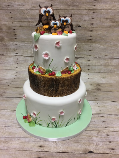 3 tier baby shower cake with 3 owls and flowers.